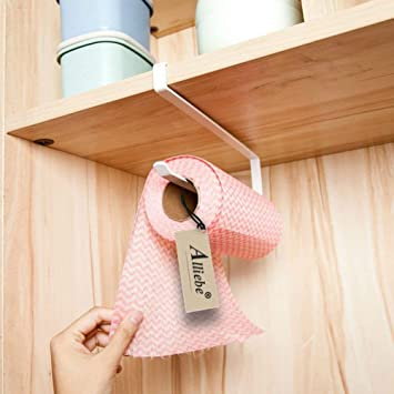 Alliebe rollo de papel toalla de papel titular dispensador bajo armario Rack soporte sin taladrar para cocina y baño: Amazon.es: Hogar