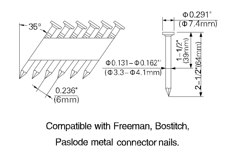 Freeman Tools pmc250 34-degree 2–1/2 Zoll Metall eingangsanschluss ...