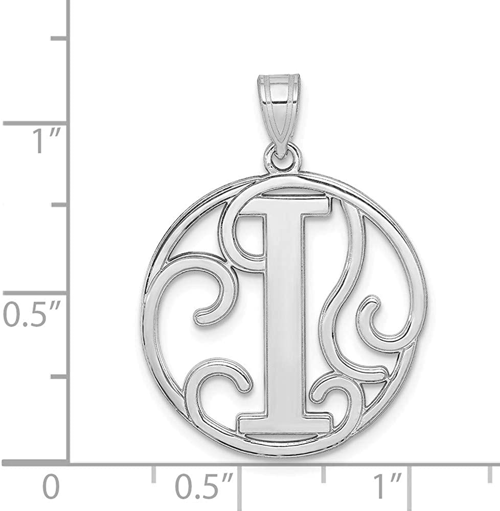 White Sterling Silver Charm Pendant Rhodium-Plated Fancy Script Initial I