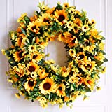 Dseap Wreath - 20'', Sunflower - Large Rustic Farmhouse Decorative Artificial Flower Wreath, Faux Floral Wreath for Front Door Window Wedding Summer Fall Outdoor Indoor - Round, Yellow