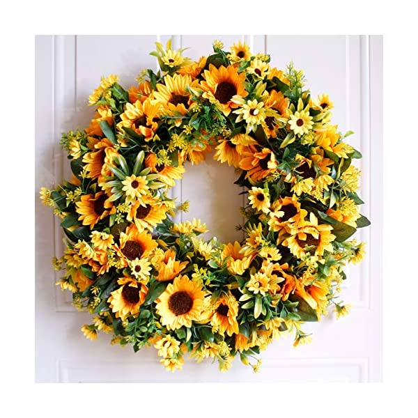 Dseap Wreath – 20″, Sunflower – Large Rustic Farmhouse Decorative Artificial Flower Wreath, Faux Floral Wreath for Front Door Window Wedding Summer Fall Outdoor Indoor – Round, Yellow
