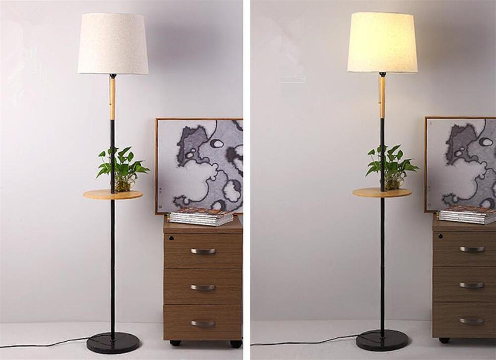 Reading Torchiere Floor Lamp Fabric Lampshade Wooden Table ...