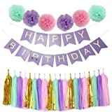 Perfect Purple Happy Birthday Banner Decoration Set Fluffy Pom Poms with Tassel Garland for Party Hanging Decoration Favor