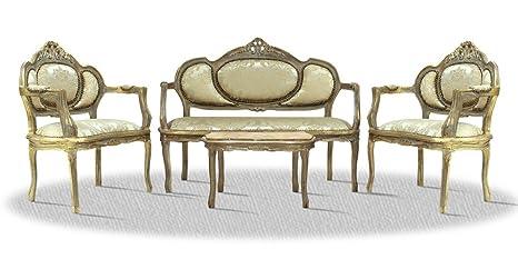 Casa-Padrino Barroco Salón Conjunto Antiguo del Oro ...