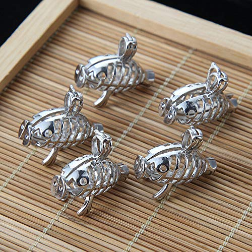 5x Silver 3D Fish Pearl Cage Locket Pendant Fit Essential Oil Diffuser Necklace