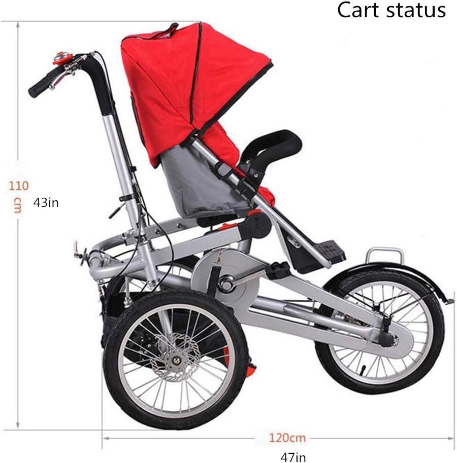 ZhaoZC Cochecito de bebé Doble 2-en-1 para niños Cochecito de Bicicleta Doble Triciclo Plegable Dos Asientos Usados Unisex para Adultos,Red: Amazon.es: Deportes y aire libre