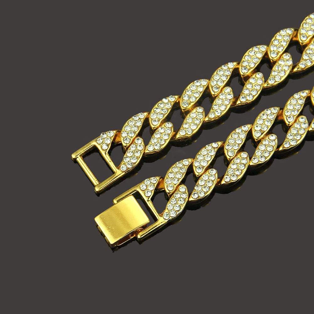60CM Cha/îne Hommes Collier en Acier Inoxydable avec Diamant Brillant Cha/îne /à Maillons Hiphop pour Hommes 1,5 cm de Large Kucosy Cha/îne Gourmette Homme Longueur de la Chaine 20 CM 50CM