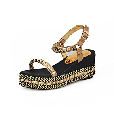 5a8b288c2dcf AnMengXinLing Women Wedge Platform Sandals Ethnic Rivet Studded Open Toe  Ankle Strap Bohemia Casual Summer Shoes