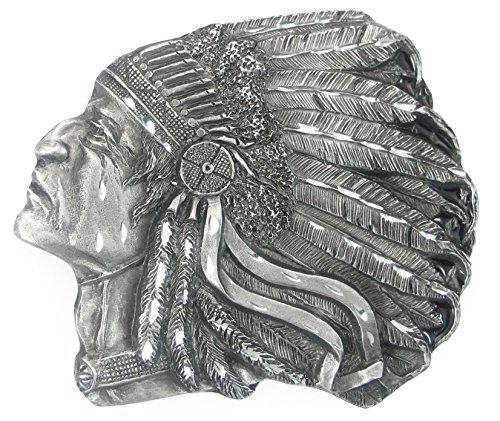 Indian Chief Diamond Cut - Pewter Belt Buckle - Pontiac Indian Chief (Diamond Cut)