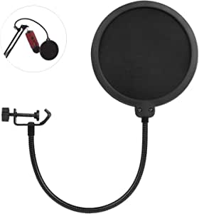 AUSELECT Professional Microphone Pop Filter Mask Shield Compatible Dual Layered Wind Pop Screen With A Flexible 360 Degree Gooseneck Clip Stabilizing Arm