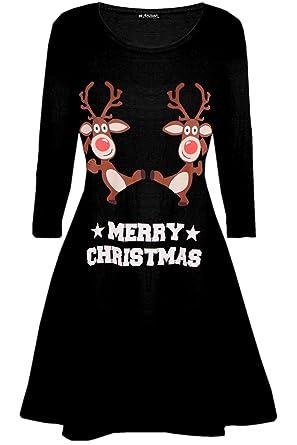 bd3e5b383e48 Be Jealous Womens Ladies Santa Reindeer Wall Snowflake Costume Christmas  Xmas Swing Dress UK Plus Size 8-26: Amazon.co.uk: Clothing