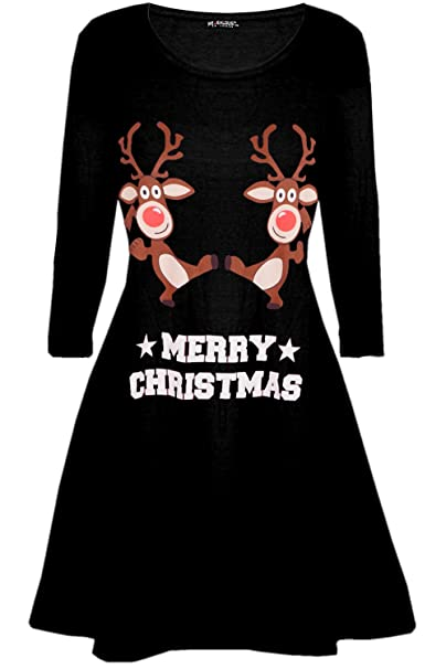0d5f3d4732e52 Be Jealous Womens Ladies Santa Reindeer Wall Snowflake Costume Christmas  Xmas Swing Dress UK Plus Size 8-26  Amazon.co.uk  Clothing