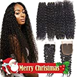 10A Brazilian Hair 4 Bundles with Closure Water Wave (22 24 26 28+Closure 20, Middle Part) Remy Wet and Wavy Hair Weave Bundles with 4x4 Lace Closure Resaca Unprocessed Virgin Human Hair