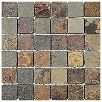 "SomerTile SCR2QSS Cliff Quad Sunset Slate Natural Stone Mosaic Floor and Wall Tile, 12"" x 12"", Grey/Black/Red/Orange/Brown"