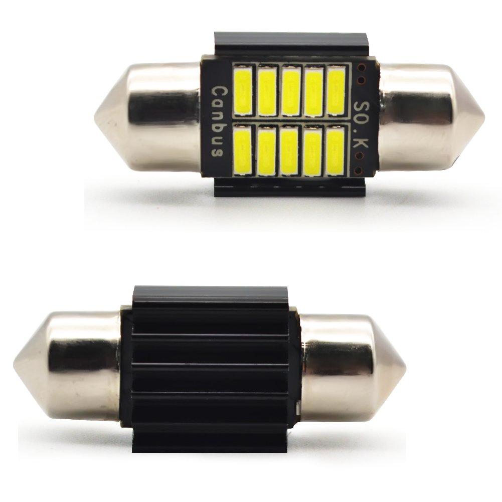 4 pi/èces Kashine C5W LED 31mm Blanc 4014 Ampoules 10SMD Festoon LED D/ôme Voiture Int/érieur LED Lumi/ère Lampe de Plaque dImmatriculation 12V