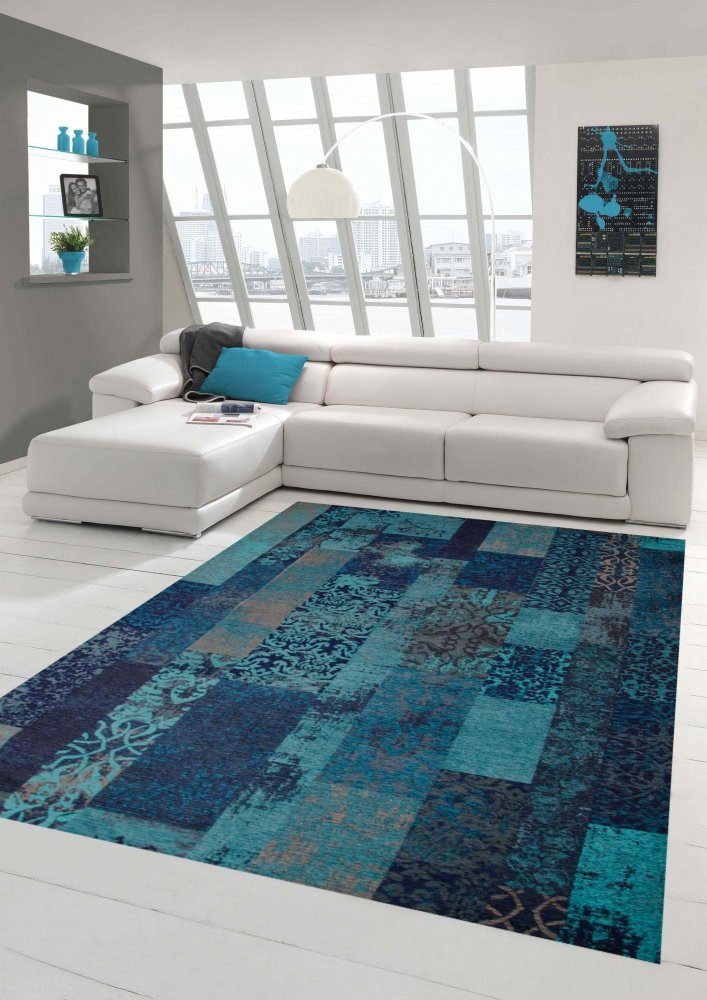 Moderner Teppich Designer Teppich Orientteppich Wohnzimmer Teppich mit Karo Muster in Türkis Blau Größe 200 x 290 cm