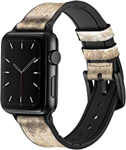 CA0288 T-Rex Jurassic Fossil Leather & Silicone Smart Watch Band Strap for Apple Watch iWatch Size 38mm/40mm