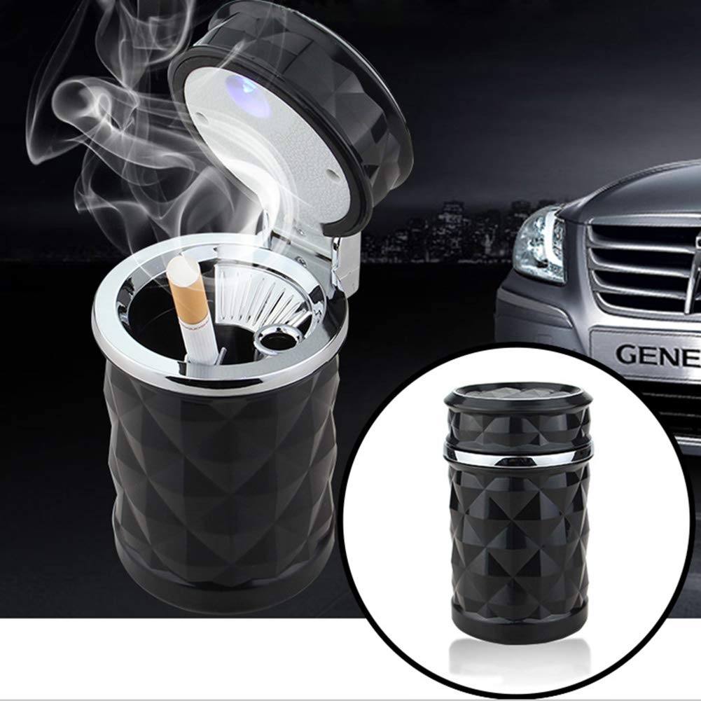YMXLJJ Diamond Ashtray Portable Fashion Creative Ashtray High Temperature with LED Light Cigarette Smoke Office Home Car Travel Accessories,Black by YMXLJJ (Image #2)