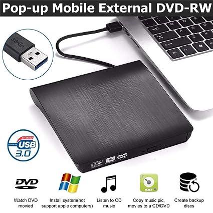 MXQH Unidad de CD Externa, USB 3,0 Slim External DVD RW CD Grabador