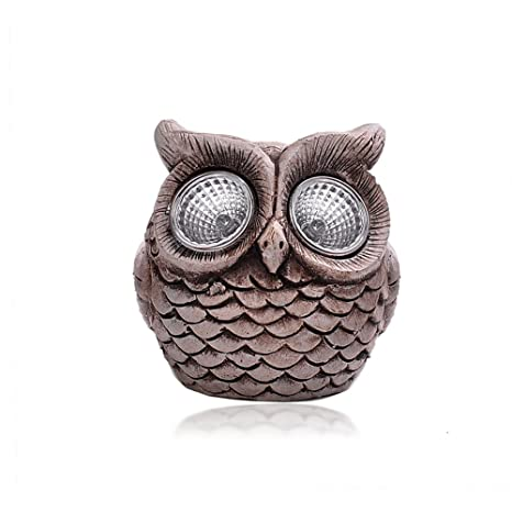 Elegant Solar Powered Owls,Powered By Solar LED Garden Light,Cement Owl Night  Figuine Glow