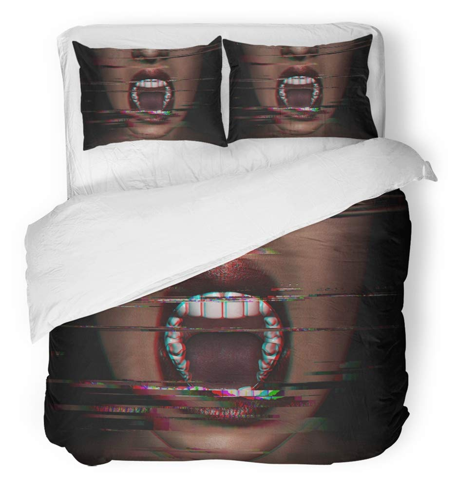 Emvency 3 Piece Duvet Cover Set Breathable Brushed Microfiber Fabric 3D of Woman Screaming in The Dark with Glitch Effect Horror Movie Design Bedding Set with 2 Pillow Covers Twin Size
