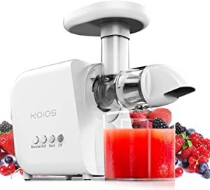 KOIOS Juicer, Masticating Juicer Machine, Slow Juice Extractor with Reverse Function, Cold Press Juicer Machines with Quiet Motor, Easy to Clean with Brush