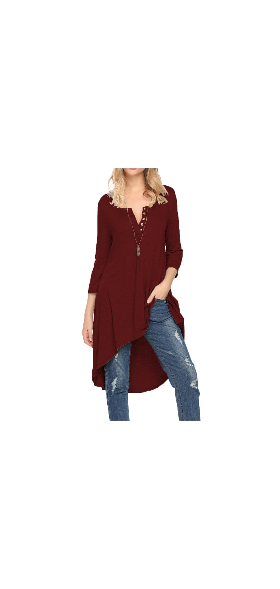 Women's Half Sleeve High Low Loose Fit Casual Tunic Tops