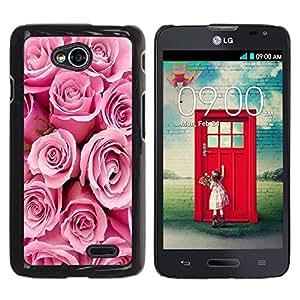 TopCaseStore / la caja del caucho duro de la cubierta de protección de la piel - Roses Valentines Love Pink Girlfriend Spring - LG Optimus L70 / LS620 / D325 / MS323