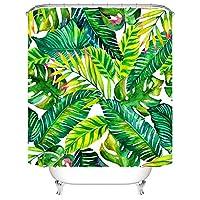 Hoomall Rideau Douche Salle de Bain Intransparence Etanche Anti-Moisissure Polyester Motif Tropical Feuilles 1Pc Vert