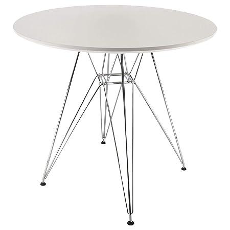 Tavolo Tondo 100 Cm.Meubletmoi Tavolo Rotondo Bianco Stile Scandinavo 100 Cm Piede