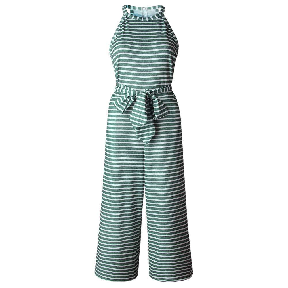LLYGE Women's Sleeveless Striped Waist Belted Wide Leg Jumpsuit with Pockets Green XL