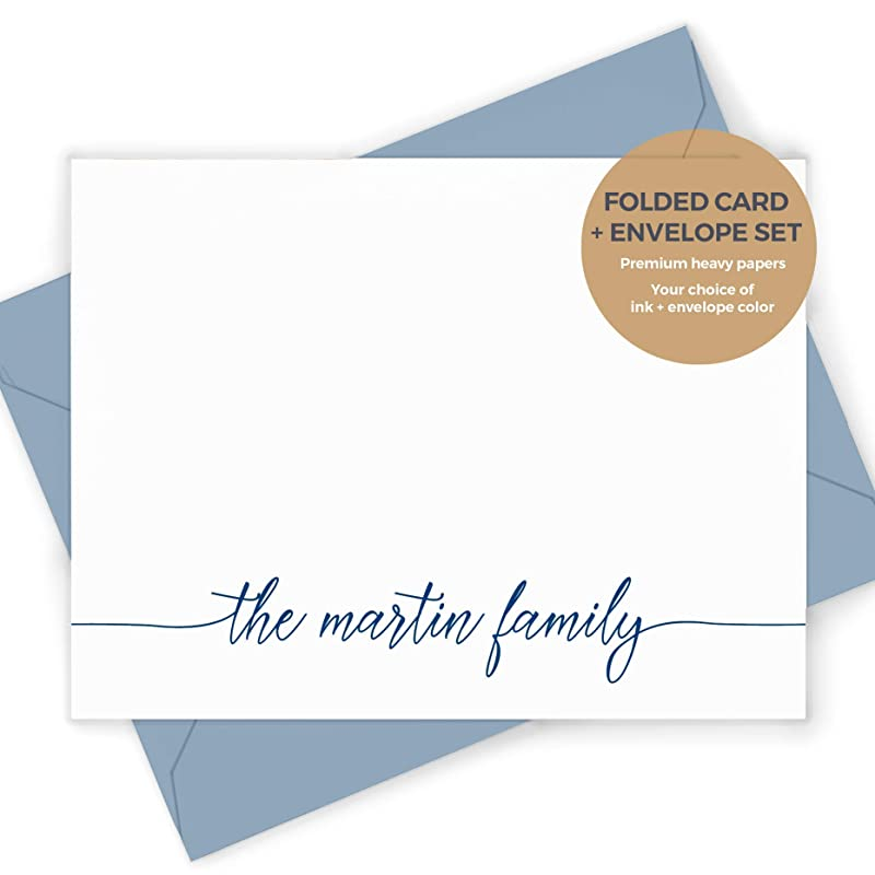 Choose script or print font nature designs your name Personalized note cards 9 3 styles each hand stamped