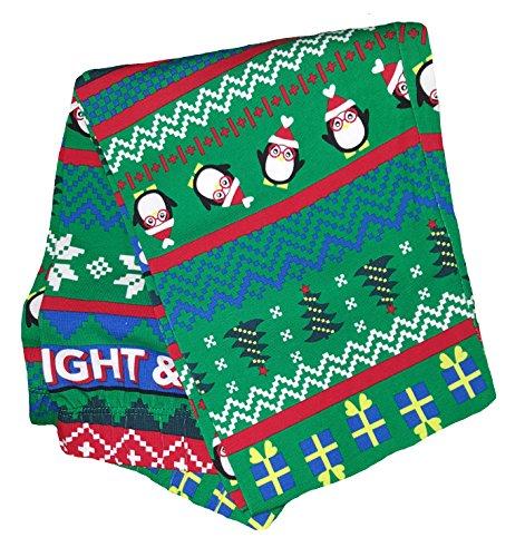 Nice Christmas Penguins & Presents Fair Isle Green Ankle Legging for cheap
