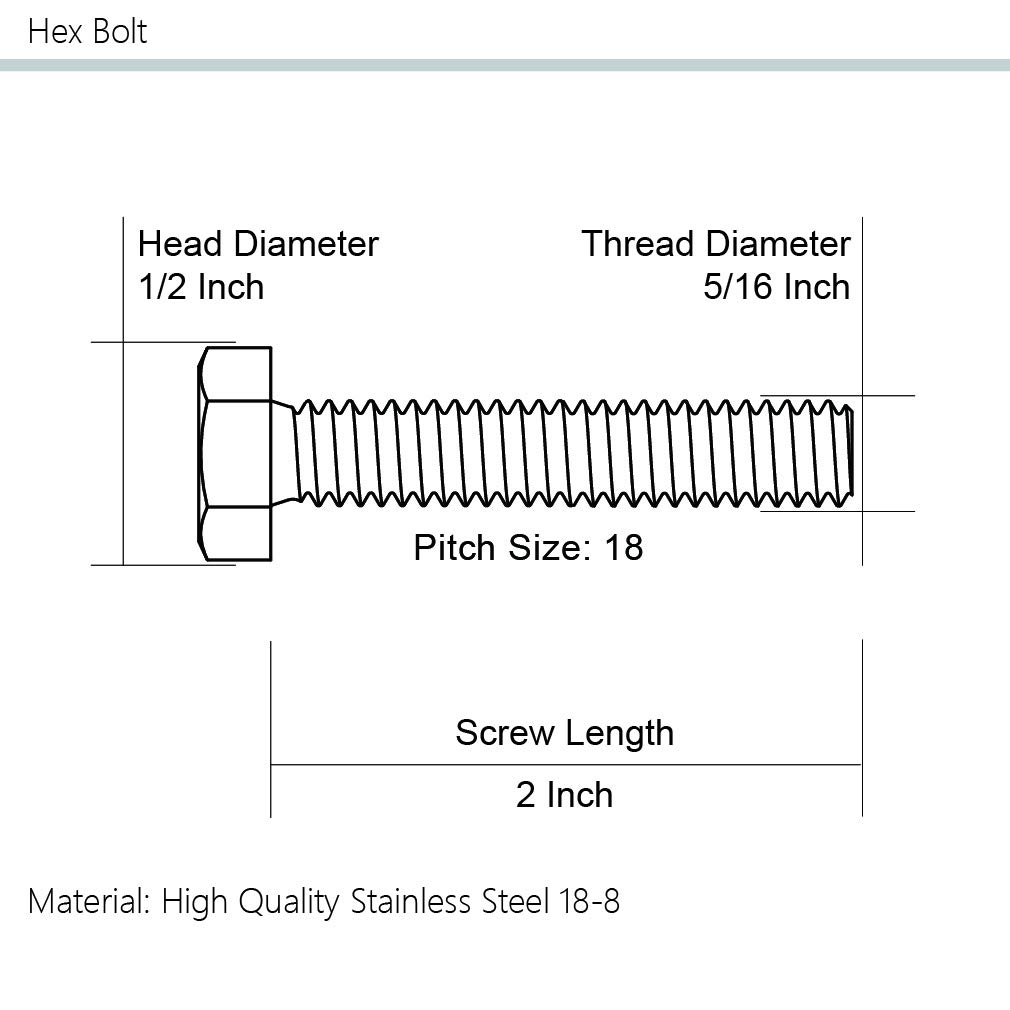 15 PCS Stainless Steel 18-8 304 External Hex Drive Full Thread 5//16-18 x 2-1//2 Hex Head Cap Screw Bolts