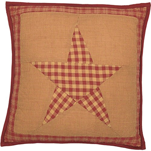 (VHC Brands Classic Country Primitive Pillows & Throws - Ninepatch Star Red Quilted 16