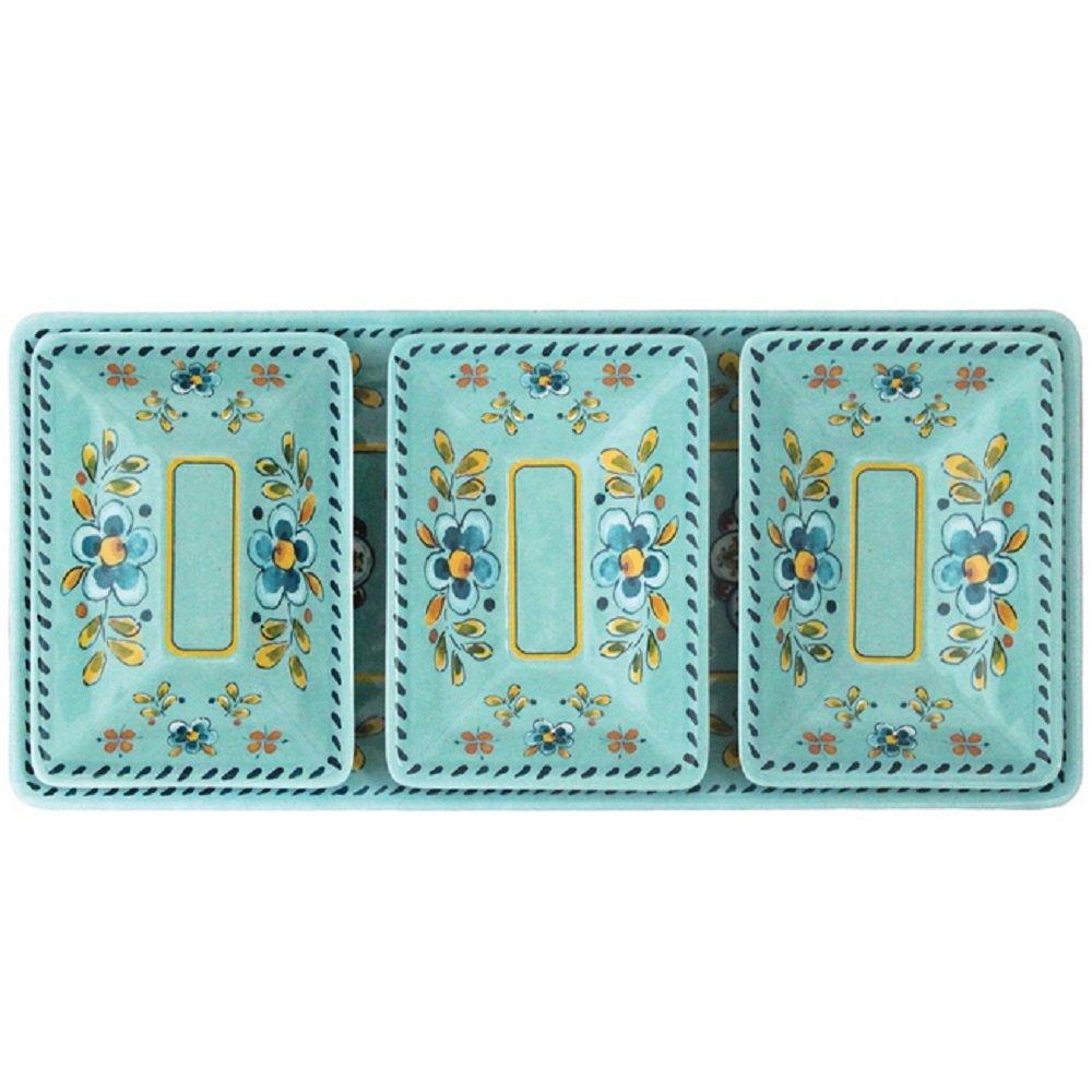 Le Cadeaux Madrid 4 Piece Dip or Appetizer Set, Turquoise 300MADT