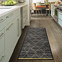 Ottomanson Studio Collection Diamond Trellis Design Runner Rug, 20 X 59, Gray & Yellow