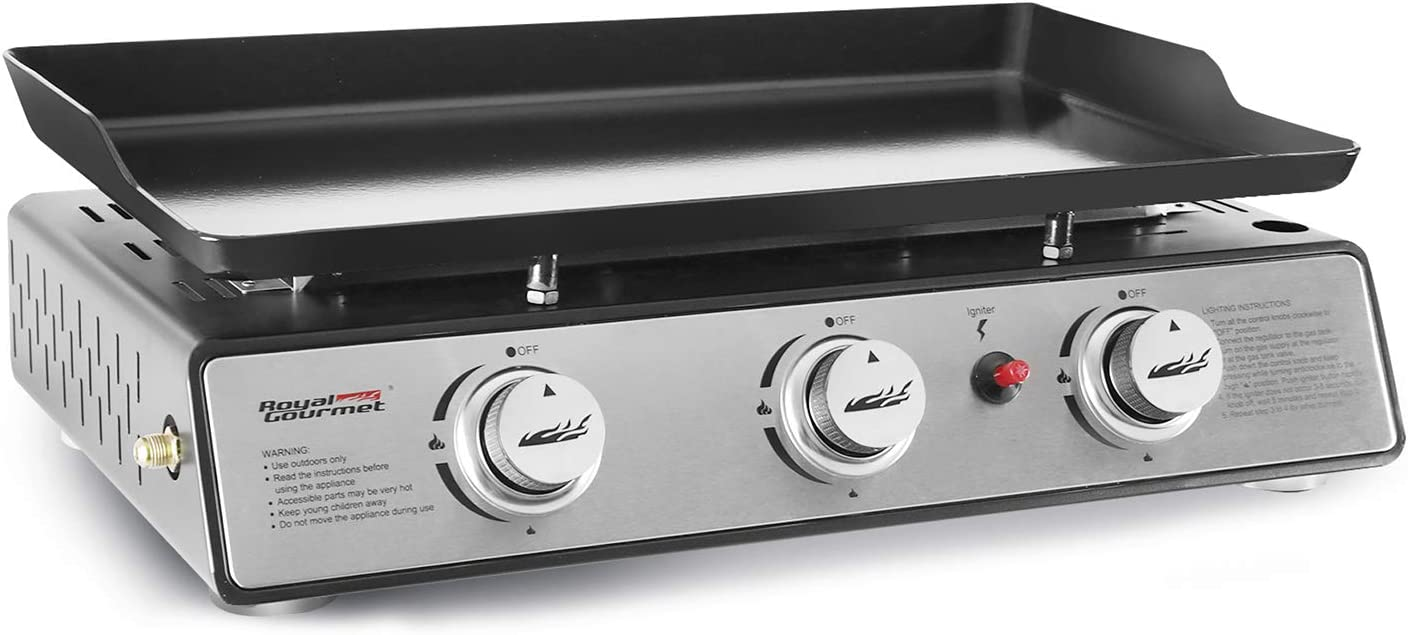 25,500 BTUs Royal Gourmet PD1301S 24-Inch 3-Burner Portable Table Top Gas Grill Griddle Black