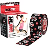 "RockTape Kinesiology Tape for Athletes, Water Resistant, Reduce Pain & Injury Recovery, 2"" x 16.4 Feet, Uncut, Skull - Muertape"