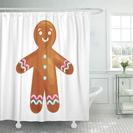 Ashleyallen Shower Curtains Christmas Cookies Smiling Decorated With Icing Dancing And Having Fun Happy Xmas Gingerbread