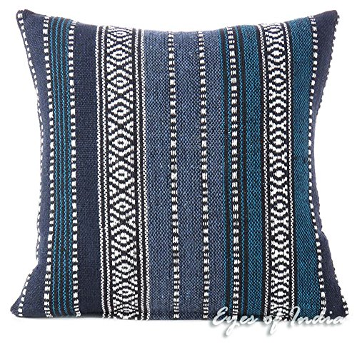 Eyes of India - 16 Blue Black Striped Decorative Pillow Cushion Cover Throw Sofa Couch Colorful Boho Seating Bohemian Indian Moroccan COVER ONLY