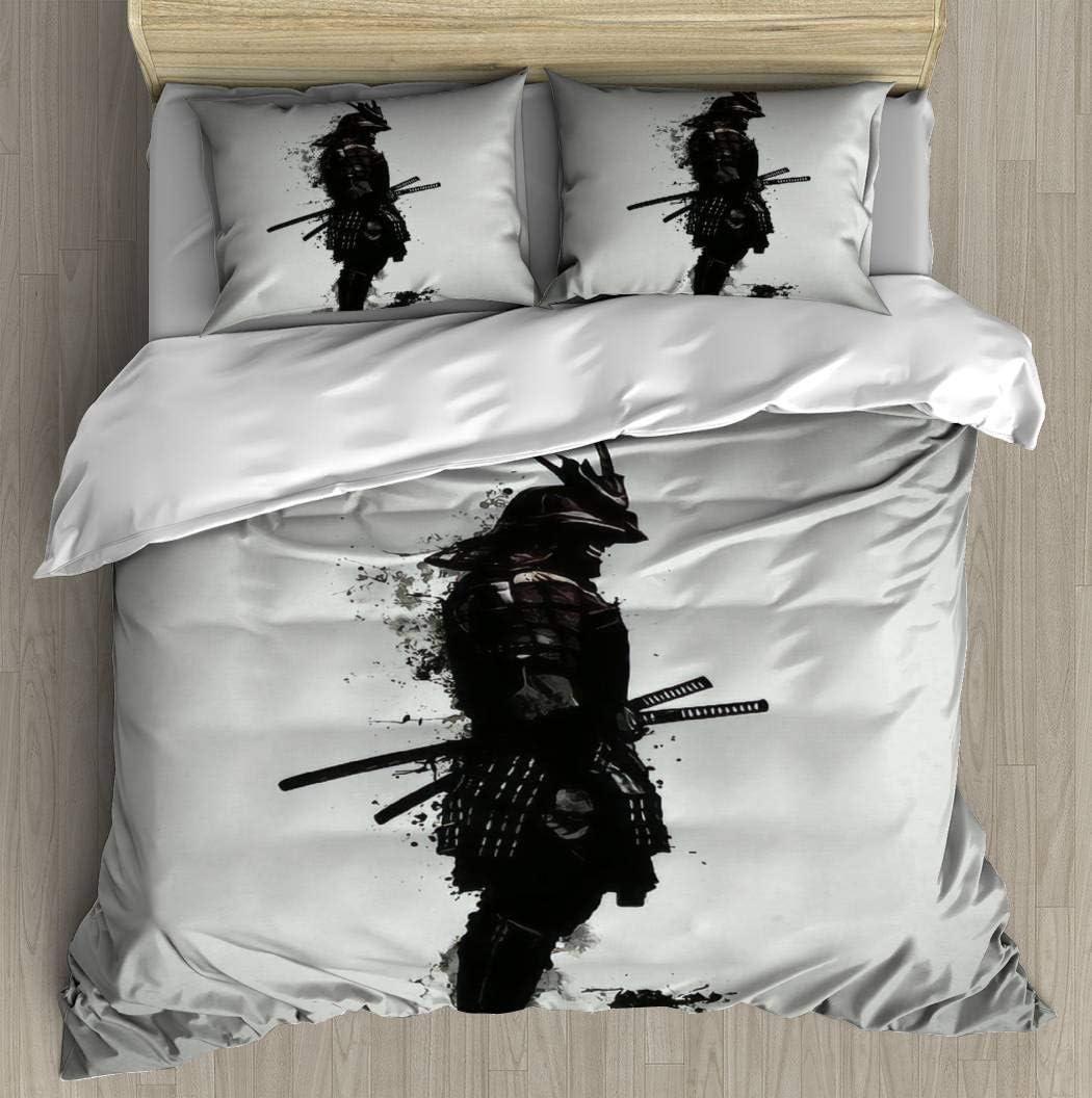 "Duvet Cover Set Armored Samurai Bedding Set Microfiber Comforter Cover with Zipper Closure, Bed Quilt Cover Pillow case for Girls Boys, 90""x90"""