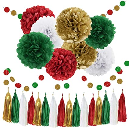 waysle christmas hanging decorations 30pcs green red white gold bridal shower decorations tissue paper pom pom