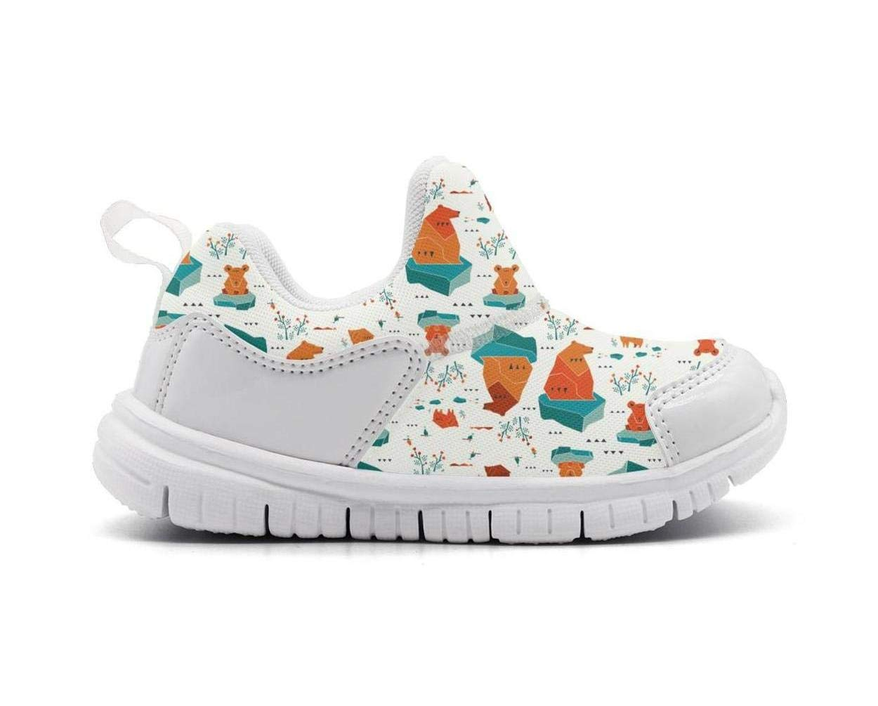 ONEYUAN Children Colorful Polar Bear Geometric Kid Casual Lightweight Sport Shoes Sneakers Running Shoes