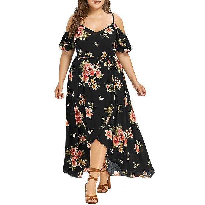 d267f2cc18 Womens Summer Dress - Ladies Plus Size Casual Cold Shoulder Boho Print Maxi  Dress with Belt