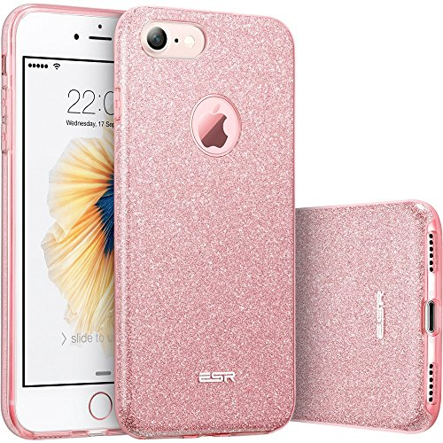 "ESR iPhone 7 Makeup Series Back Cover Shinning Protective Bumper Bling Glitter Case for 4.7"" iPhone 7 - Rose Gold"
