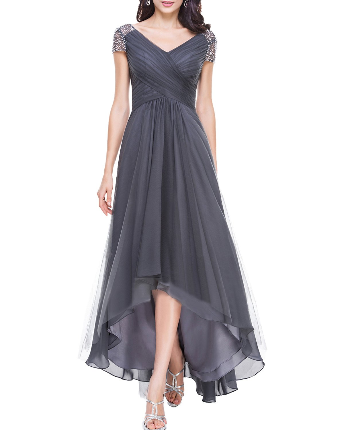 4615aab44a Alanre Women s V-Neck Ruched Corset Bridesmaid Dresses with Sleeves Beaded  High Low Prom Dress Grey 10