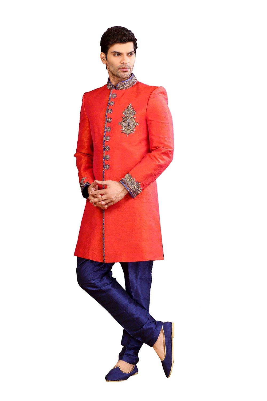 Fashions Trendz Mens Indo Western Wedding Orange Designer Partywear Traditional R-254