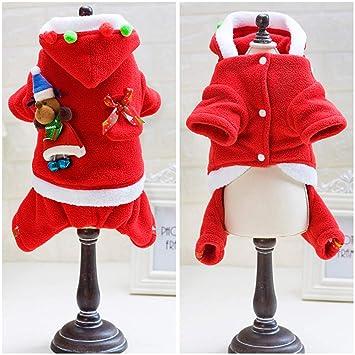 Smoro Mascota Perro Gato Ropa de Navidad Traje de Santa Claus Ropa de Abrigo de Invierno Perro Traje de Perro con Gorra: Amazon.es: Productos para mascotas