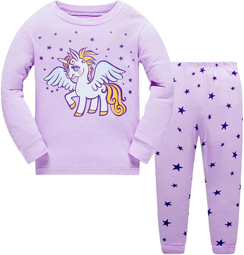 Pijamas para ni/ñas Ropa de Dormir para ni/ños 100/% Algod/ón Variedad de Estampados de Animales Lindos 2-7 Anos